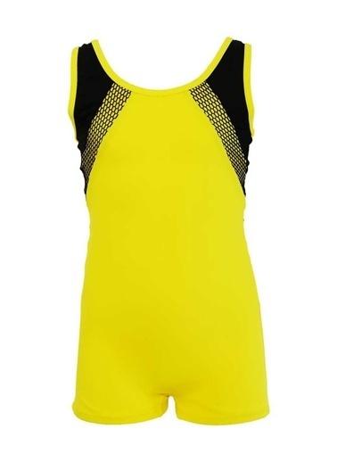 Dagi Kız Çocuk Şortlu Yüzücü Mayo Sarı